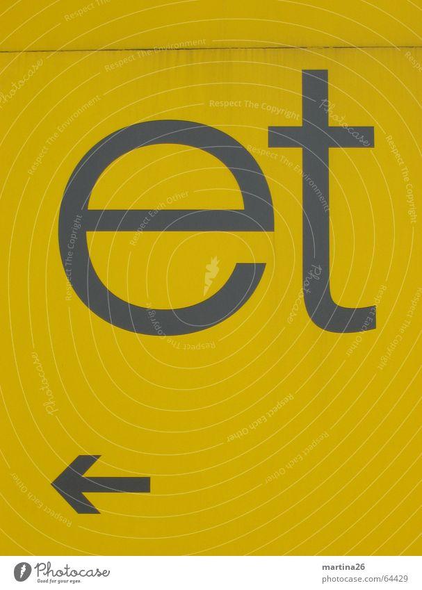 ja und? gelb Wand Mauer 2 Schilder & Markierungen modern Schriftzeichen Buchstaben Klarheit Pfeil Typographie Richtung Wort links Wegweiser Blech