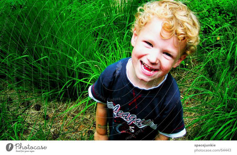 Justus Kind Natur blau grün Freude Junge Gras Wildtier Kleinkind frech Spielplatz Schulkind Bildung