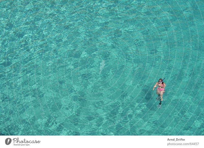 Pink in Türkis Frau Mensch Wasser Meer blau Sommer Ferien & Urlaub & Reisen Einsamkeit Ferne Erholung Freiheit Wellen rosa tauchen Schwimmen & Baden türkis