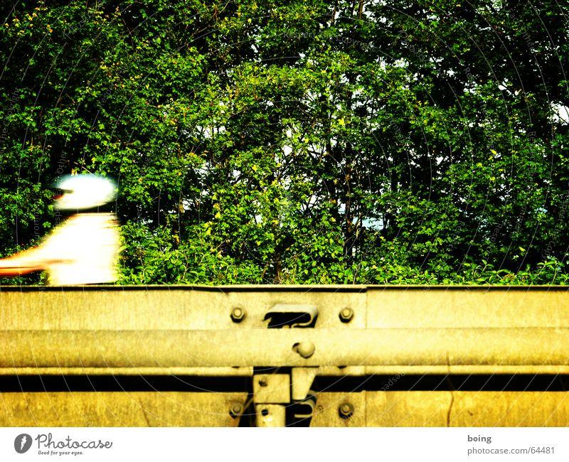 Ausfahrt Helm Kleinmotorrad Hecke Hochgeschwindigkeit Motorrad Rocker Beschleunigung vertikal Fahrradlenker Lenker Straße Leitplanke Bewegungsunschärfe Autobahn