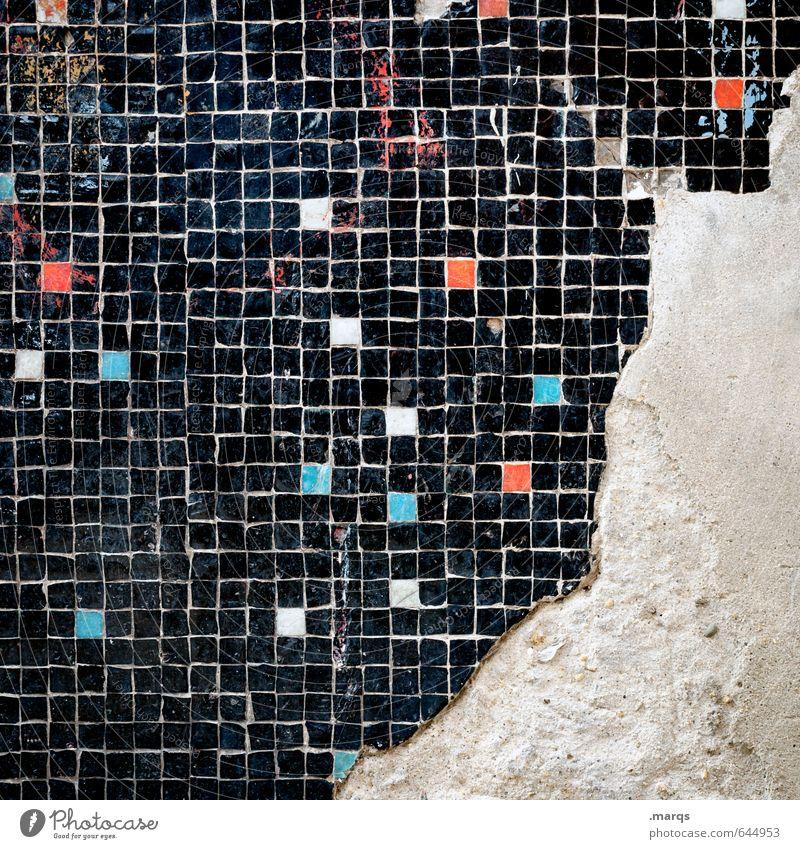 Dreiviertel Lifestyle elegant Stil Design Linie Fliesen u. Kacheln Mosaik alt außergewöhnlich Coolness dreckig trendy einzigartig kaputt blau rot schwarz weiß