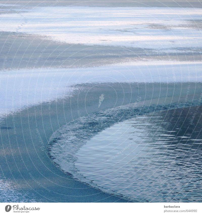 halbe Sachen | Halbgefrorenes Luft Wasser Himmel Winter Klima Eis Frost Schnee Teich See frieren frisch kalt blau weiß Stimmung ruhig Natur Sinnesorgane Umwelt