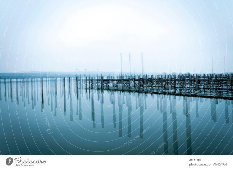 Pfahlbauten Himmel Natur Ferien & Urlaub & Reisen blau Farbe Wasser Erholung kalt Umwelt Herbst außergewöhnlich See Stimmung Horizont Wetter Lifestyle