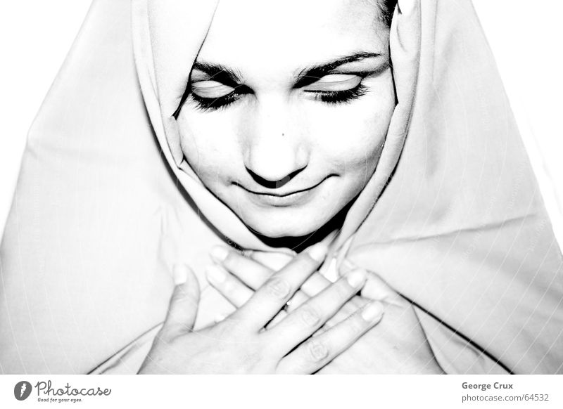 Maria I Ave Maria saint sacred person woman faith praying fé b&w .