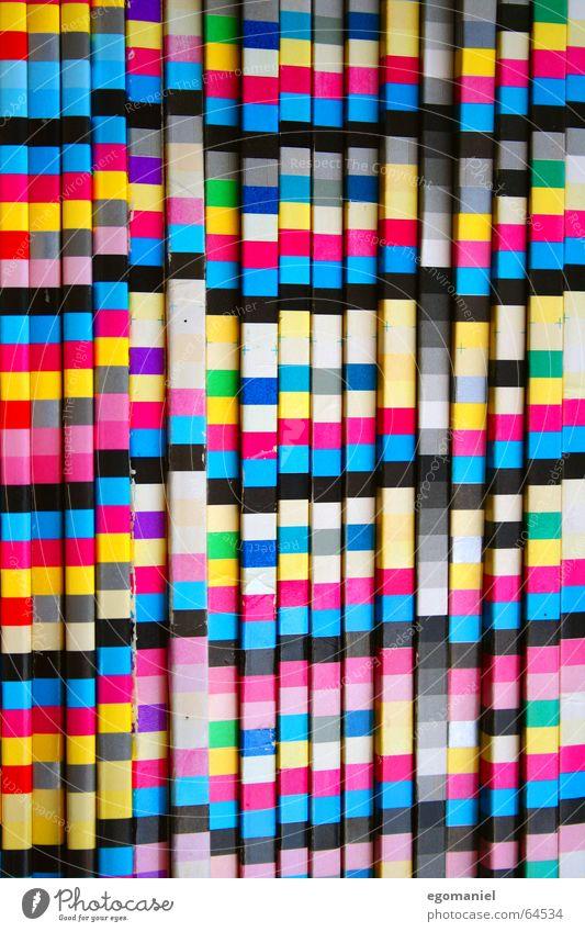 Farbrausch mehrfarbig Quadrat Rechteck Zeitschrift zyan magenta gelb schwarz Farbe Linie