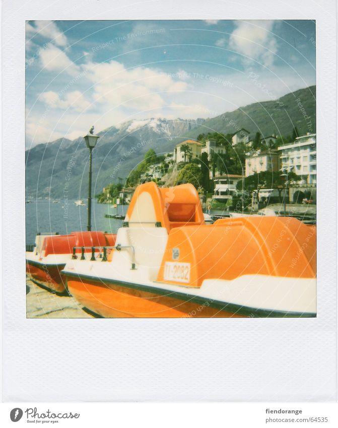 retroboot Himmel Ferien & Urlaub & Reisen Haus Wolken Wasserfahrzeug Vogel Schweiz Polaroid Laterne