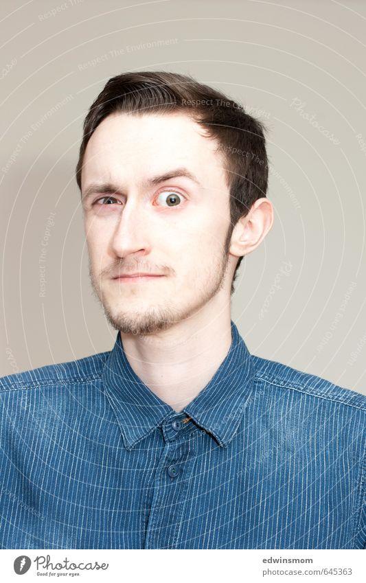 Großartiger Blick. maskulin Junger Mann Jugendliche Gesicht Auge Nase 1 Mensch 18-30 Jahre Erwachsene Hemd kurzhaarig Bart Dreitagebart beobachten Kommunizieren