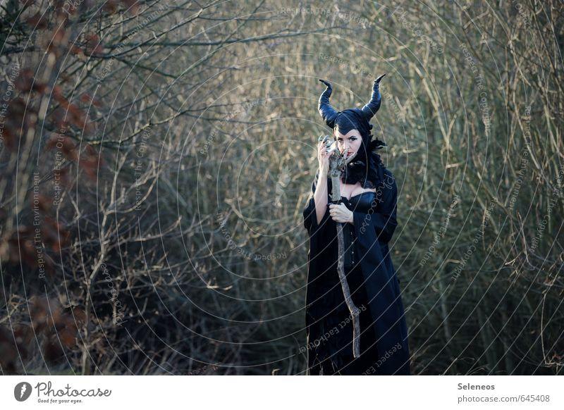 Maleficent Karneval Halloween Mensch feminin Frau Erwachsene Rockabilly Natur Herbst Winter Wald Hut listig Märchen Märchenwald Hexe Fee Horn Teufelshörner