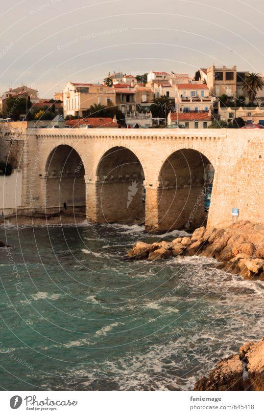à la Corniche Ferien & Urlaub & Reisen Wasser Sommer Meer Landschaft Haus Straße Küste Felsen Wellen Warmherzigkeit Brücke mediterran Süden Frankreich