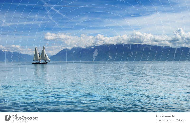 am sonntag will mein ... Wasser blau ruhig Wolken Erholung Berge u. Gebirge See Wasserfahrzeug Wellen Wind Freizeit & Hobby Schweiz Segeln Schifffahrt Sport Sonntag