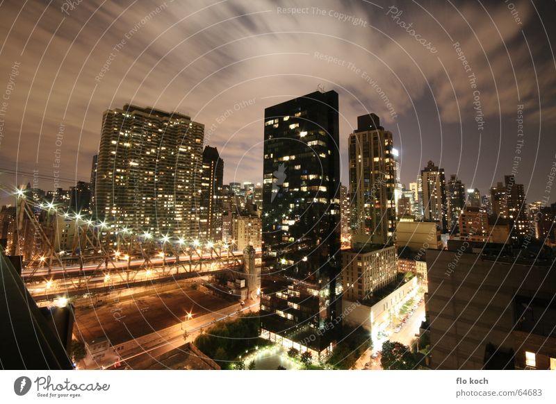 nacht in new york Himmel Haus Wolken Fenster Hochhaus Geschwindigkeit Skyline Nacht Weitwinkel New York City