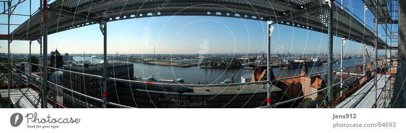 Kontainerhafen Hamburg Himmel blau Straße Metall groß Hochhaus Fluss Baustelle Hafen Anlegestelle Stadtzentrum Panorama (Bildformat) Elbe Stab Aluminium