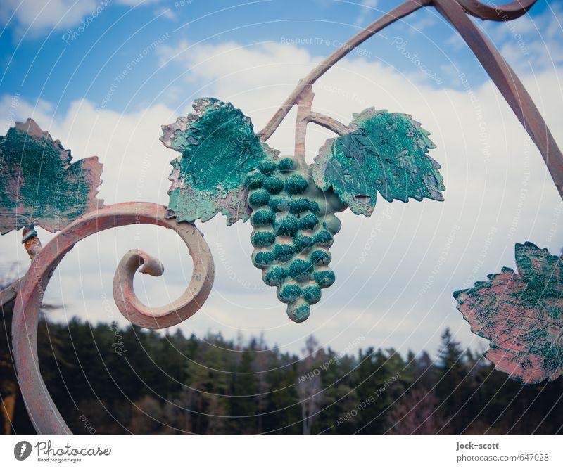 Wein, sonst nix Stil Skulptur Kultur Kunsthandwerk Himmel Wolken Weintrauben Wald Fränkische Schweiz Dekoration & Verzierung Metall Zeichen hängen ästhetisch