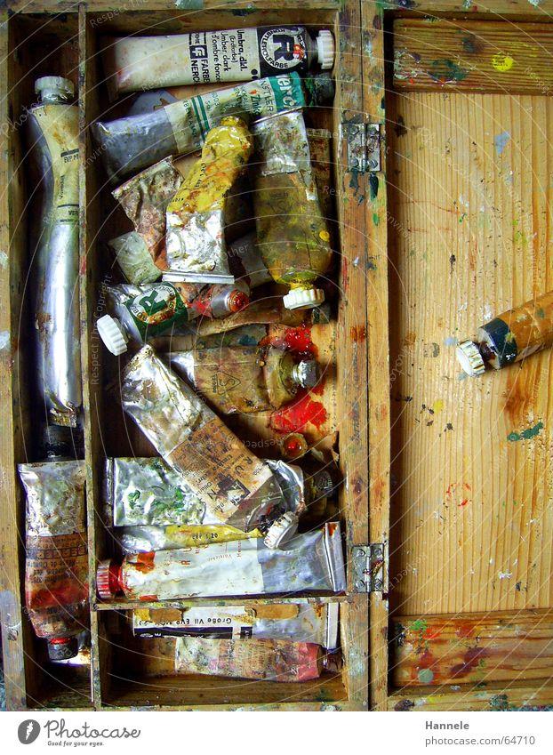 opas farben 7 Ölfarbe mehrfarbig Holz Farbkasten Kunst gebraucht Gemälde Farbe Erdöl London Underground coluor kasten.malen alt terpentin Projektionsleinwand