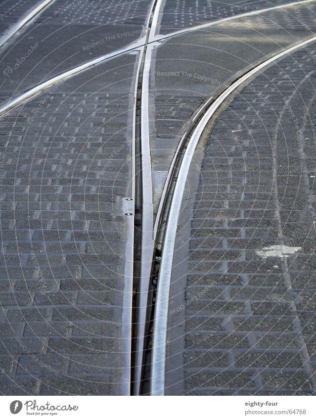 gleisstudie_07 Straße grau Beton Verkehr Eisenbahn fahren Asphalt Gleise Kopfsteinpflaster Straßenbahn Weiche