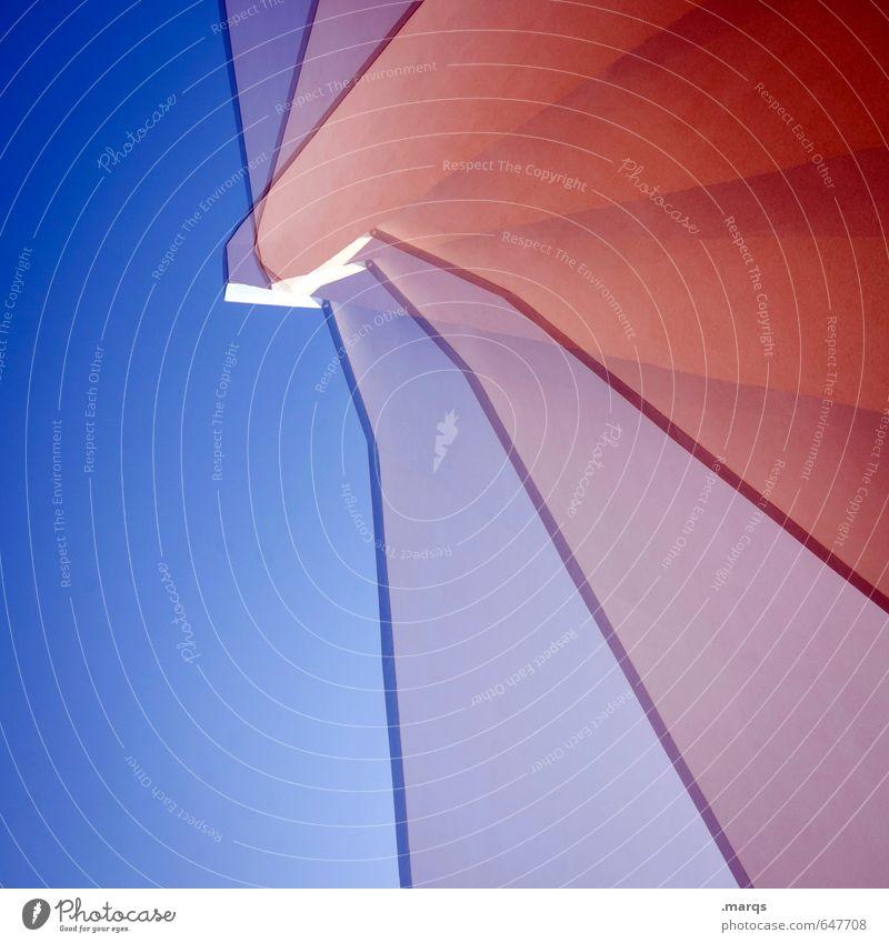 komplex|e Bauweise Stil Wolkenloser Himmel Bauwerk Gebäude Architektur Mauer Wand ästhetisch trendy hoch einzigartig modern blau rot türkis Farbe Perspektive