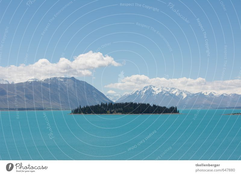 Lake Tekapo Neuseeland XI Seeufer blau türkis Reisefotografie Ferien & Urlaub & Reisen reisend Angeln Fischereiwirtschaft Südinsel Australien + Ozeanien Insel