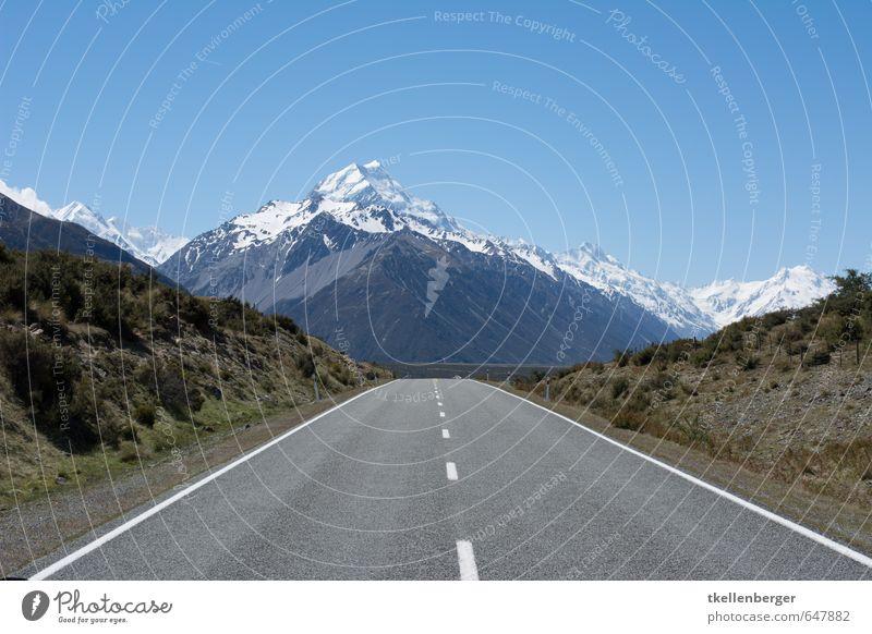 Mount Cook Neuseeland X Alpen Berge u. Gebirge Mount Cook National Park Mount Cook Gletscher Klettern Gipfel Schneebedeckte Gipfel wandern Straße Autobahn