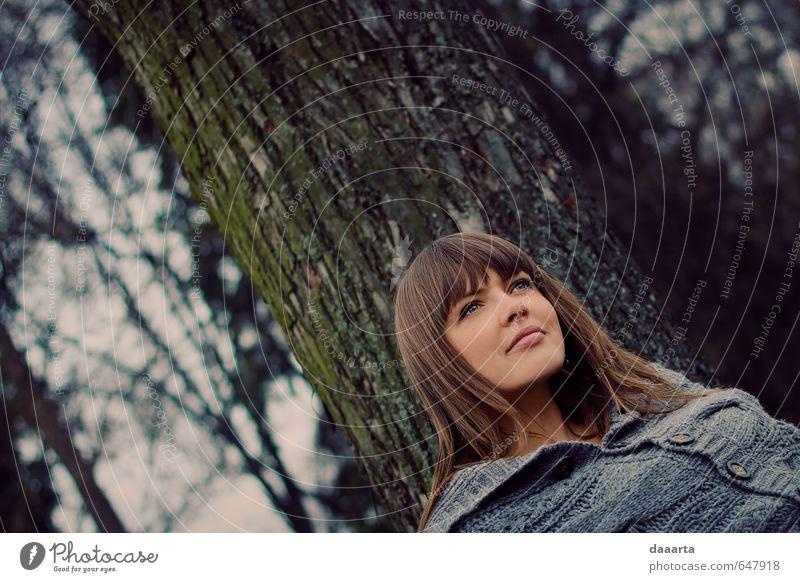 Mensch Natur Jugendliche schön Junge Frau Baum 18-30 Jahre Wald Erwachsene Leben Frühling natürlich feminin Gesundheit Denken Garten