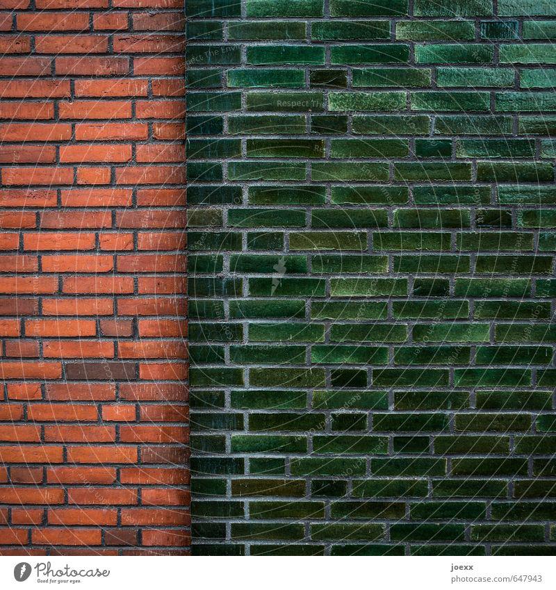 Mehrheit Mauer Wand Fassade ästhetisch historisch lang braun grün rot Netzwerk Backstein Fuge Farbfoto Außenaufnahme Detailaufnahme Muster Menschenleer Tag
