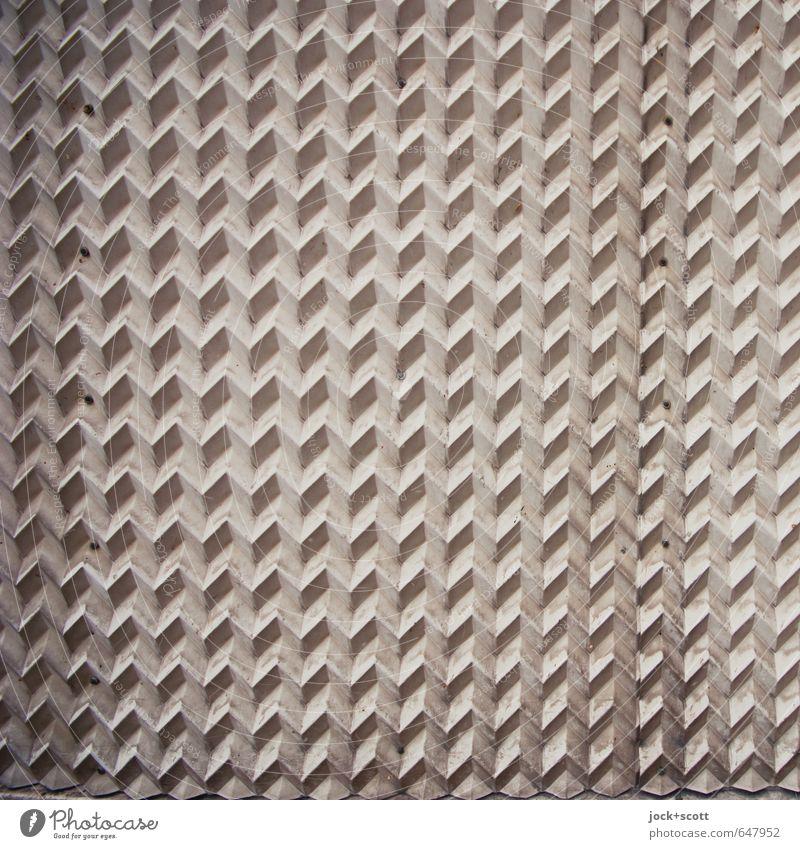 Zig-Zag-Zig Mathematik Fassade Sammlerstück Kunststoff Ornament Netzwerk dreidimensional Rechteck dreckig fest modern grau Stimmung Einigkeit diszipliniert