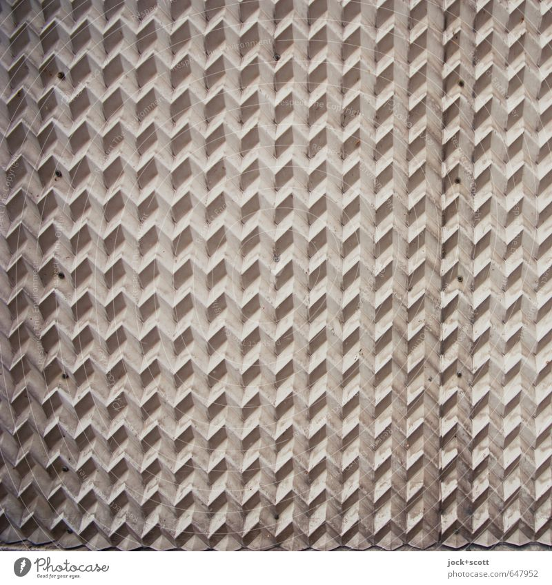 Zig-Zag-Zig Muster Mathematik Kunststoff Ornament dreidimensional dreckig modern grau Design Sinnestäuschung Strukturen & Formen Zickzack Oberflächenstruktur