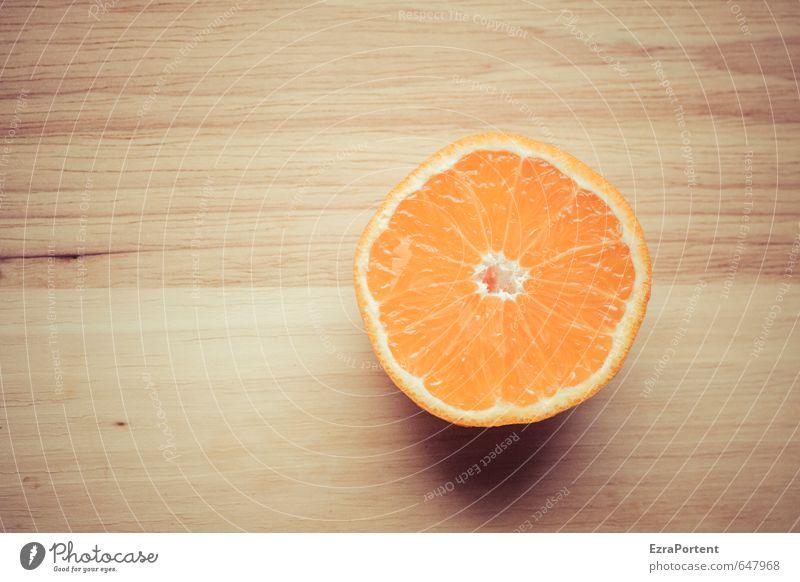 O-Saft Lebensmittel Frucht Orange Ernährung Bioprodukte Vegetarische Ernährung Holz hell natürlich retro schön braun Holzbrett Hälfte geschnitten Fruchtfleisch