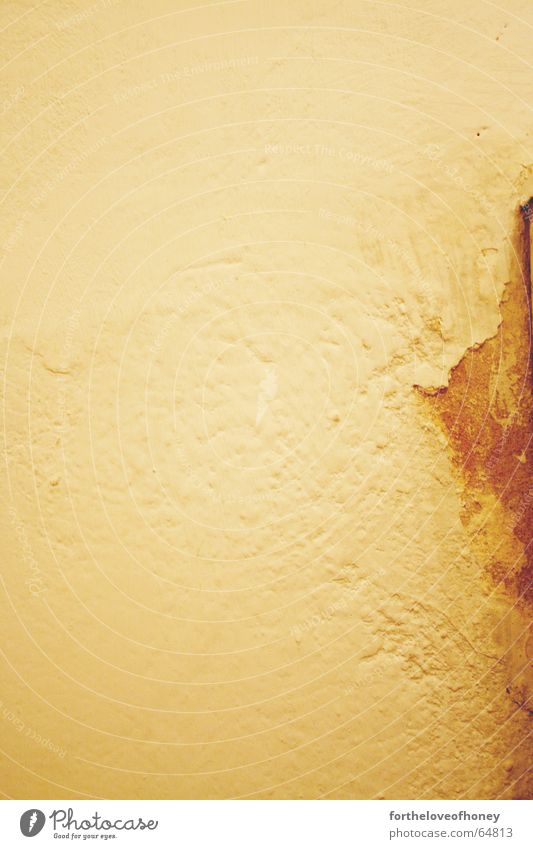 Wall with a stain Wand kaputt Hintergrundbild gelb braun vergilbt Innenaufnahme alt old destroyed gebraucht used trashed trashig einfach plain brown