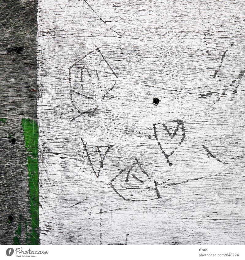 Ewig währt am längsten alt Graffiti Gefühle Farbstoff Holz Zeit Linie Kunst wild Design Wandel & Veränderung Zeichen historisch geheimnisvoll Gemälde Verfall