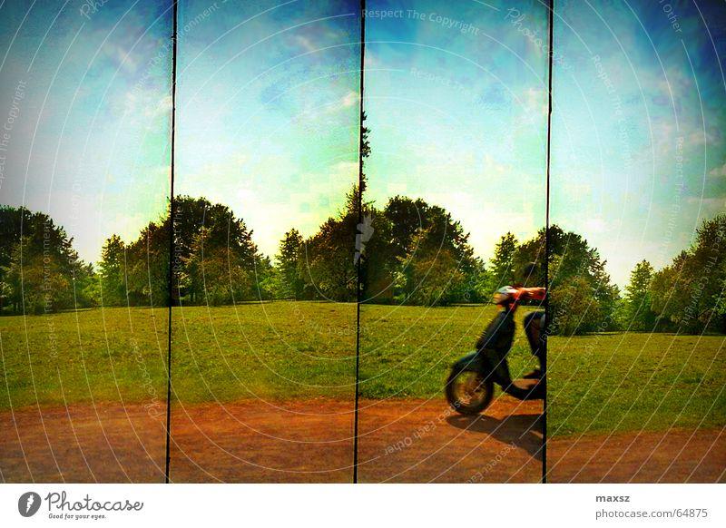 Schnell, schneller, am schnellsten Kleinmotorrad Reihe Sommer Sonne Wolken grün Baum Hannover Lomografie lomography sunshine Himmel blau Wege & Pfade