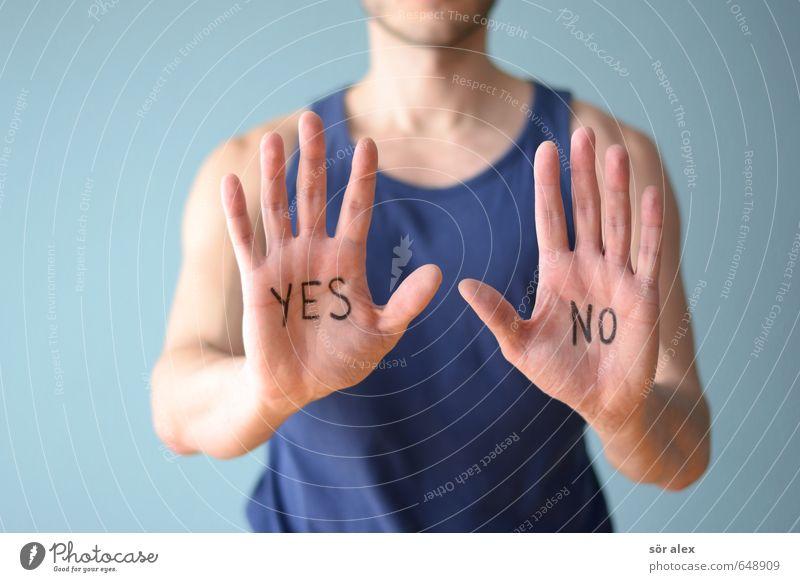 maybe Wirtschaft Business Karriere Erfolg sprechen Mensch maskulin Junger Mann Jugendliche Erwachsene Hand Finger Oberkörper Unterhemd Zeichen Schriftzeichen