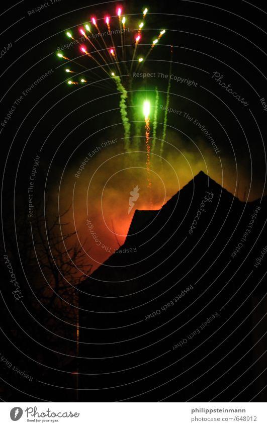 Happy New Year Glück Feste & Feiern Pyrotechnik Silvester u. Neujahr Feuerwerk dunkel grün orange schwarz Freude Lebensfreude Begeisterung Euphorie Optimismus
