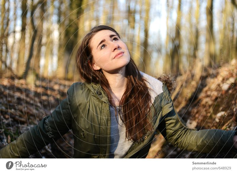Anmut Mensch Natur Jugendliche schön Baum Junge Frau ruhig Ferne Wald Umwelt Gefühle feminin Herbst Frühling Freiheit Denken