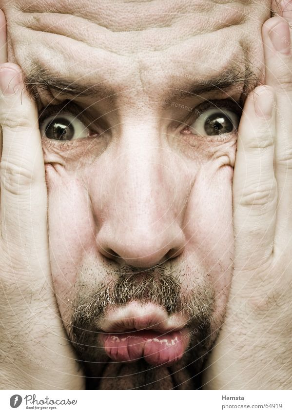 Quetschkomode Mann Nahaufnahme Gesichtsausdruck Bart Ärger Frustration Sorge Überraschung Stress Verzweiflung Stirn Falte face Detailaufnahme Zweifel Angst