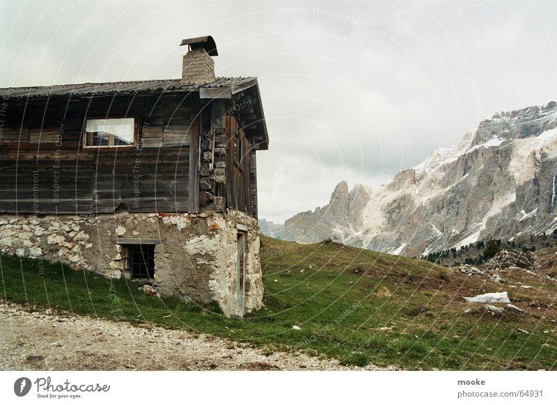 Sella Hut Wolken Berge u. Gebirge Holz Stein Hütte