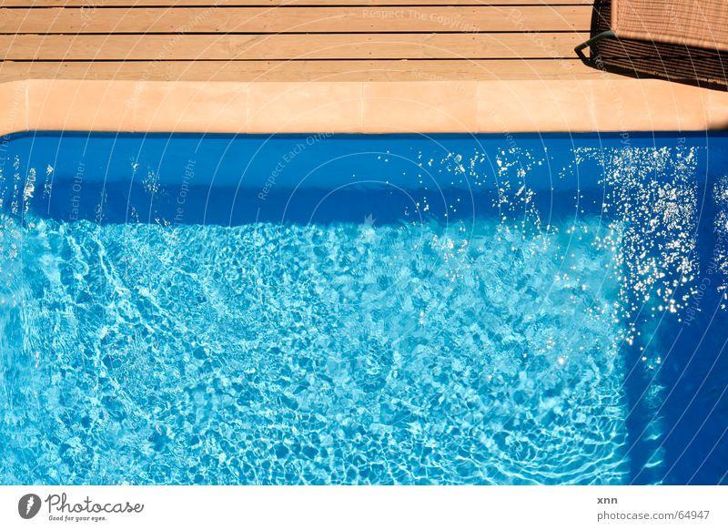 *Hüpf* blau Wasser schön Ferien & Urlaub & Reisen Sommer Freude Erholung kalt Holz Stein Linie braun Schwimmen & Baden glänzend nass Tourismus