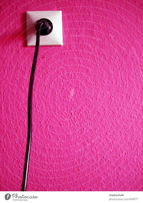 PLUG INTO MAGENTA LOVE | pink rosa clean grafik steckdose Wand Mauer Stil Software Energiewirtschaft Elektrizität Lifestyle Kabel Technik & Technologie violett