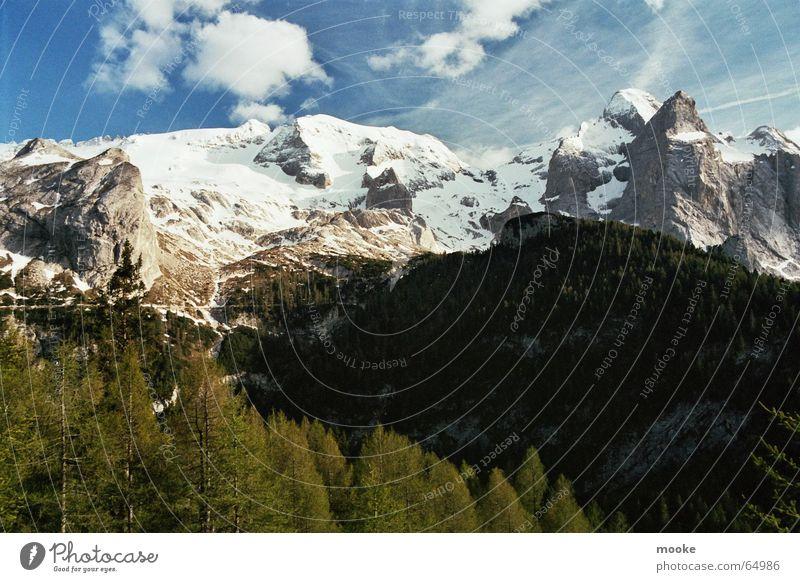 Marmolada weiß blau Wolken Wald Schnee Berge u. Gebirge Eis Felsen Gletscher
