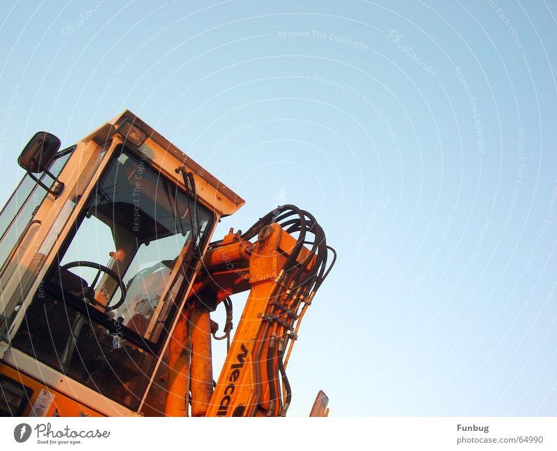 Bagger ohne Bodo Arbeit & Erwerbstätigkeit orange Industrie Technik & Technologie Kabel Baustelle Wut bauen Ärger Demontage Bagger Schaufel Rückspiegel Scheibenwischer Kindheitstraum