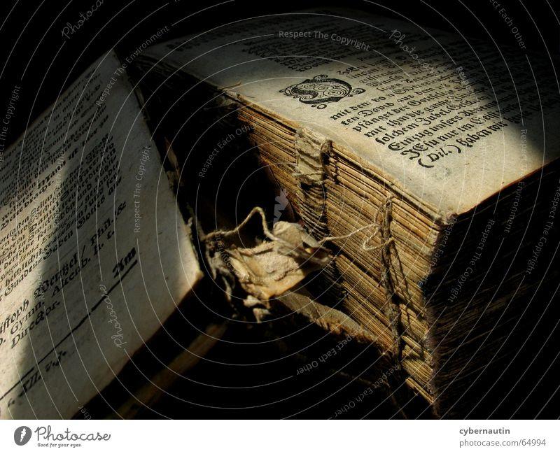 Buchbindung alt Papier lesen kaputt Seite Typographie Bucheinband Antiquität Buchdruck biblisch