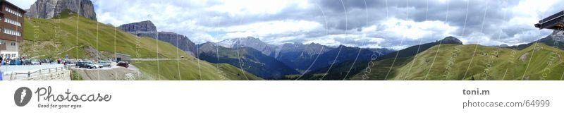 Dolomitenpano1 Europa monumental Wolken Cabrio Ferien & Urlaub & Reisen Winter Sommer Wiese frisch kalt Stimmung Panorama (Aussicht) Italien Weitwinkel rund