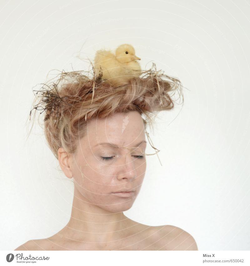 Mutter Natur Mensch Jugendliche schön Junge Frau Tier 18-30 Jahre gelb Erwachsene Tierjunges Gefühle feminin Haare & Frisuren Kopf Stimmung Vogel