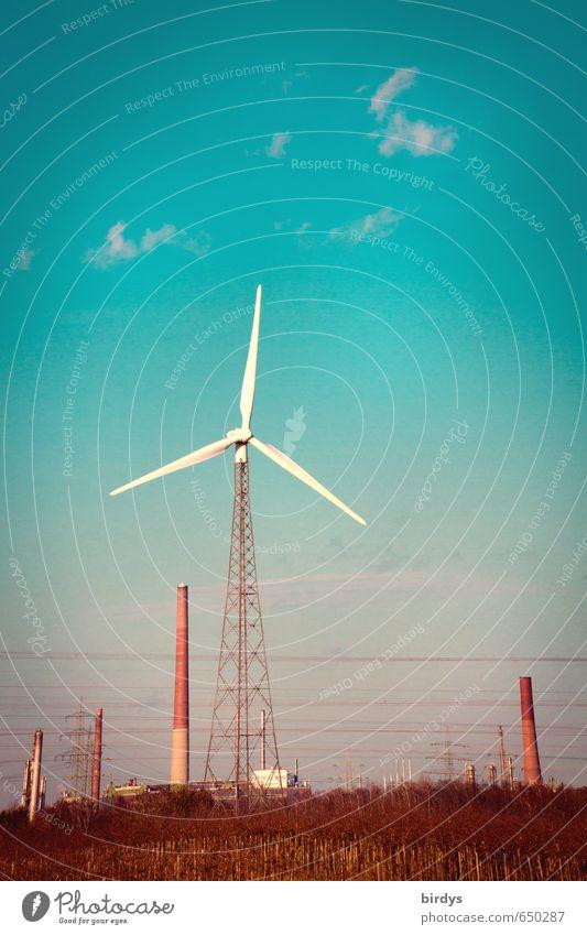 Windkraft nutzen Energiewirtschaft Erneuerbare Energie Windkraftanlage Himmel Schönes Wetter Industrieanlage drehen ästhetisch authentisch blau rot weiß