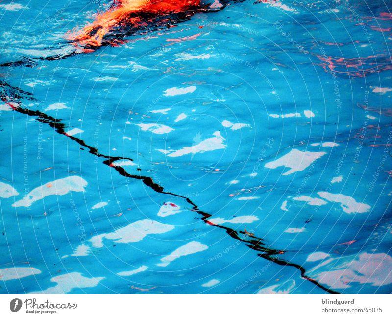 Weit rausgeschwommen ... Wasser blau rot Sommer Freude Ferien & Urlaub & Reisen kalt springen Spielen Beine nass Ausflug frisch Schwimmbad Freizeit & Hobby