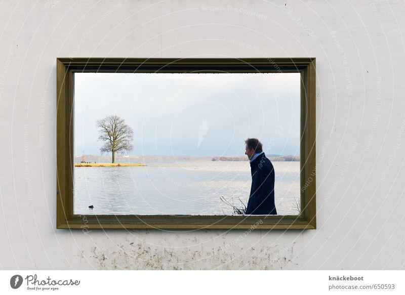 fotogemälde Ausflug Mensch maskulin Mann Erwachsene 1 30-45 Jahre Kunst Museum Gemälde Natur Landschaft Wasser Winter Baum Seeufer Denken Blick stehen
