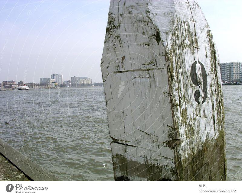 Maas-Blick Meer 9 Typographie weiß Stadt Ziffern & Zahlen Holz Strand Niederlande Rotterdam Fluss Wasser Pfosten Küste Himmel