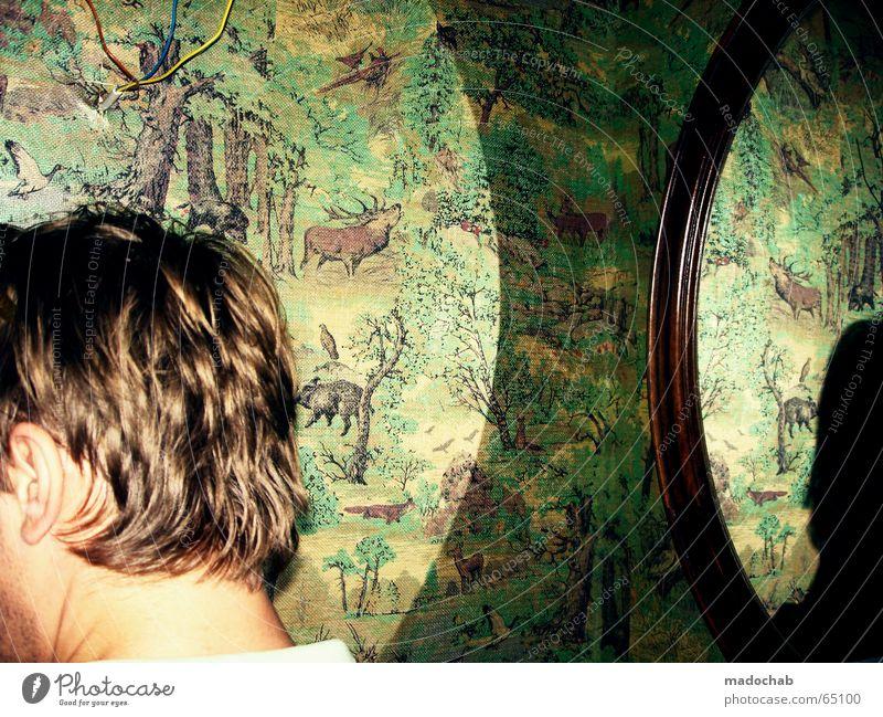 WOHNUNGSBESICHTIGUNG BEI MADO Mann stehen Hinterkopf Stil retro Bad Konzentration nächstes zimmer wieder ein spiegel Typ Jugendliche man guy Haare & Frisuren