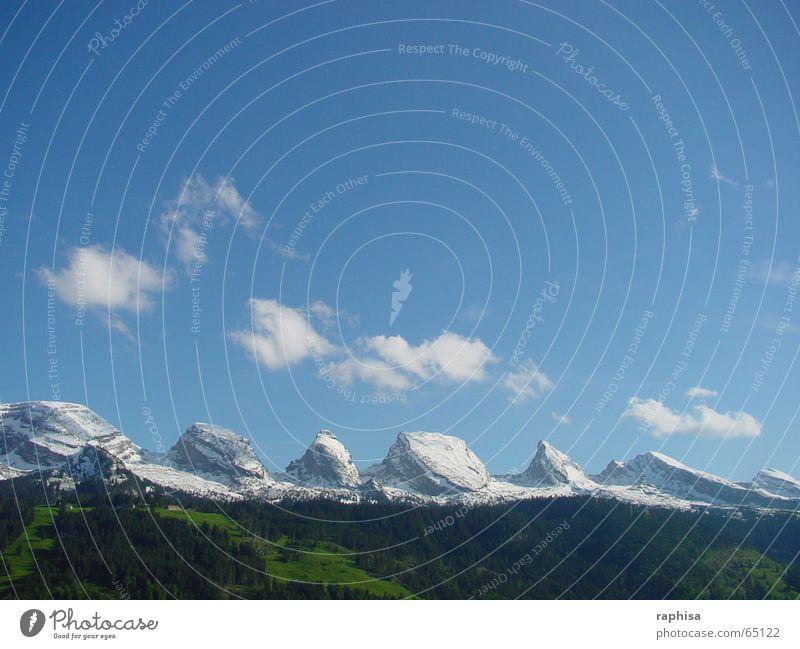 Sahnehäubchen Himmel Wolken Frühling springen Schweiz Pulver Berge u. Gebirge mountains sky clouds cloudy toggenburg swiss churfirsten wildhaus