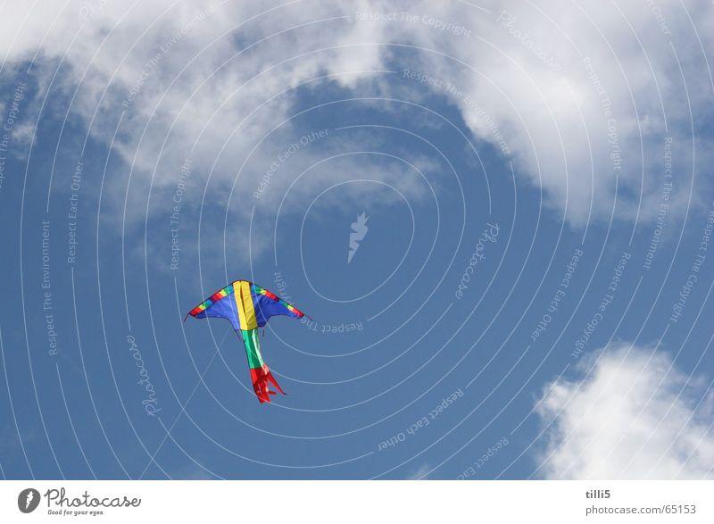 Drachen will hoch hinaus Wolken mehrfarbig Luft Himmel