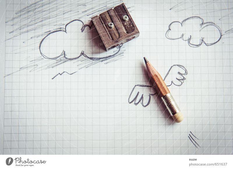 Fliegender Boxenstopp Wolken lustig grau klein außergewöhnlich Schule Arbeit & Erwerbstätigkeit fliegen Business Büro Kreativität Studium Grafik u. Illustration